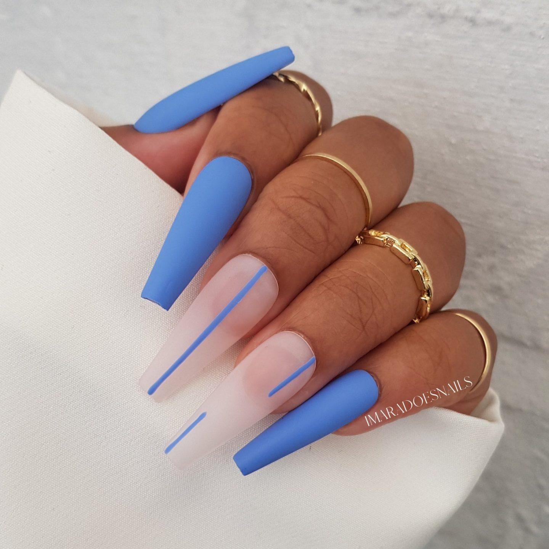 Long matte blue minimalist coffin nails