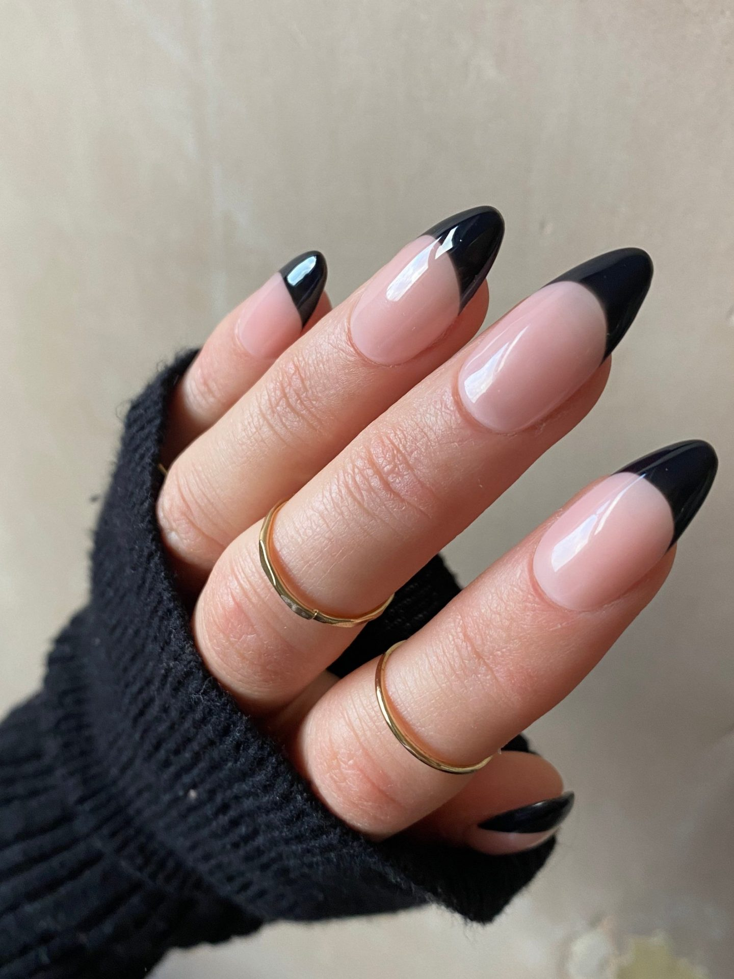 Cute simple and minimalist black French tip nails