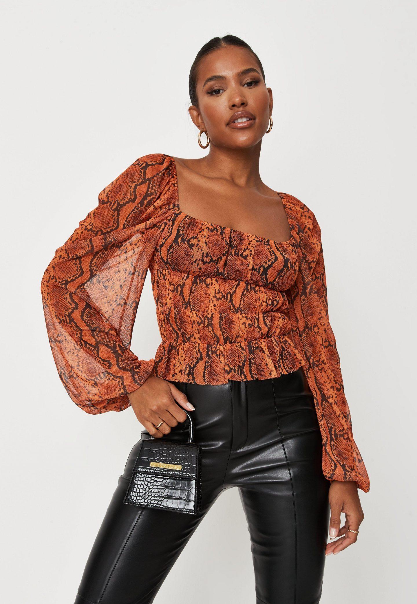 Orange snake print mesh top