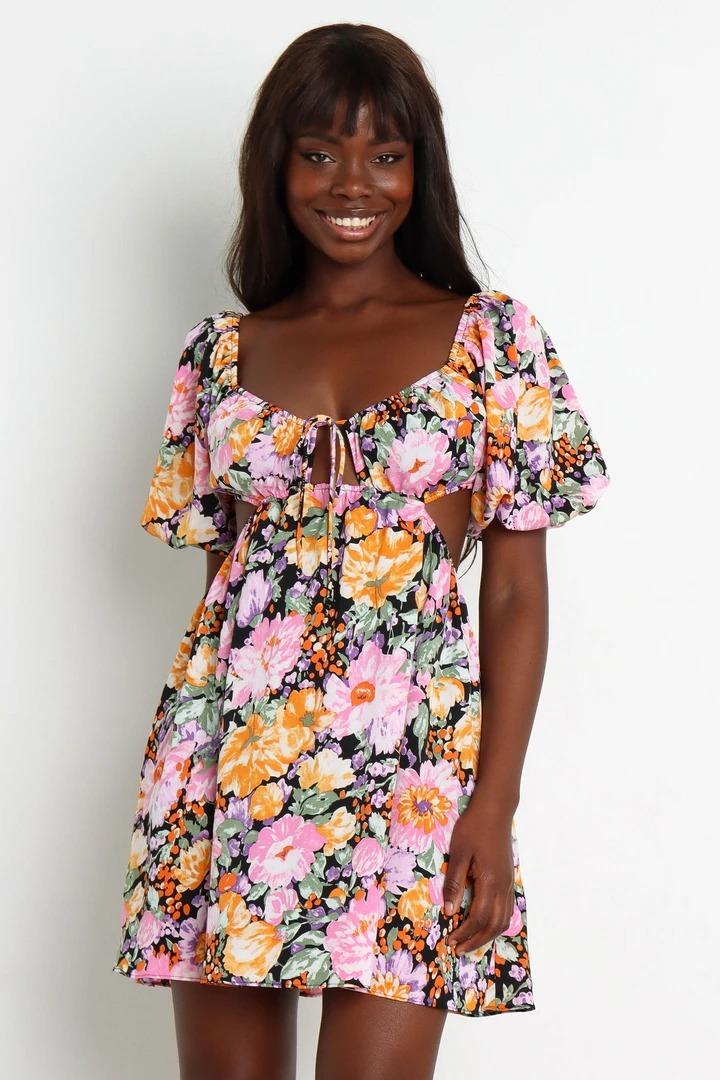 Multicolor floral cut-out babydoll dress