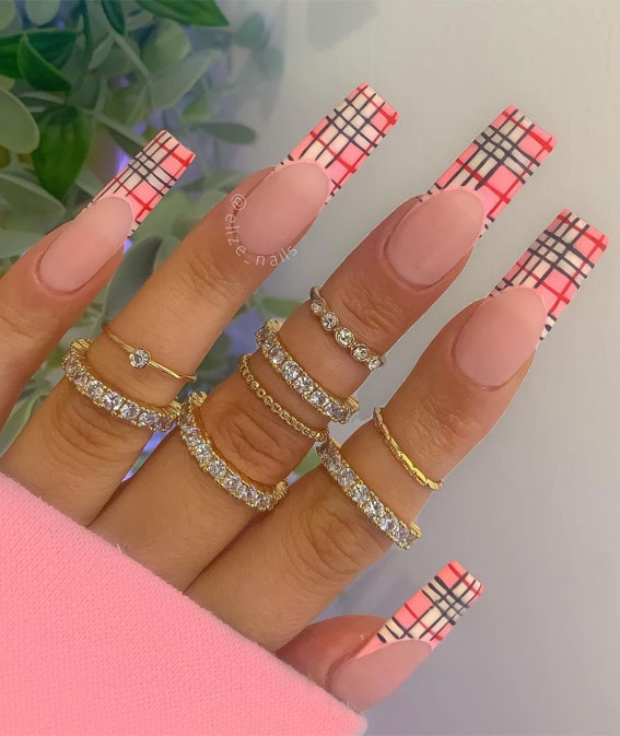 Cute long pink coffin nails with plaid French tips