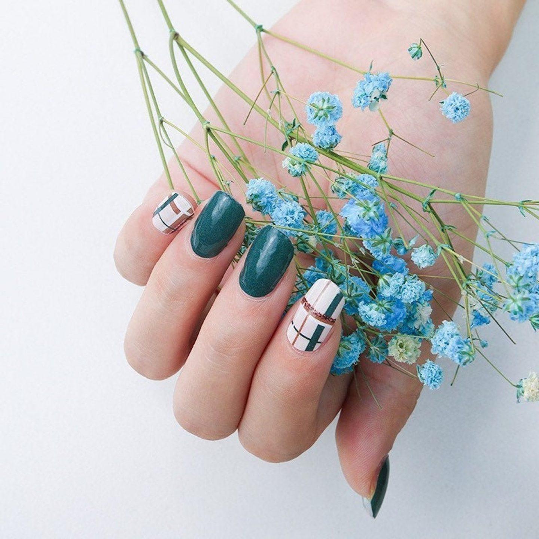 Cute short dark green plaid nails