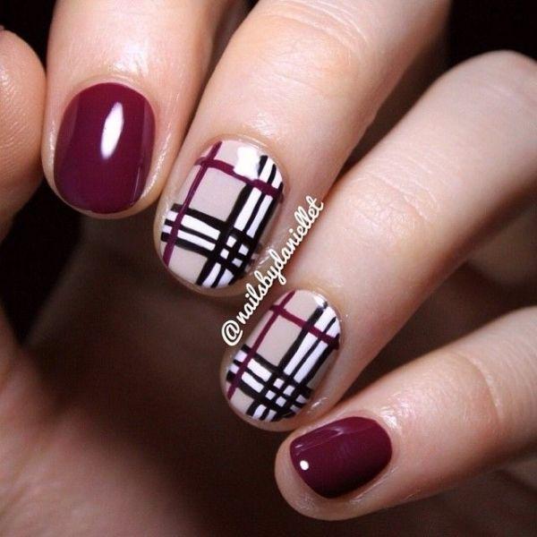 Cute short plum plaid Burberry inspired nails