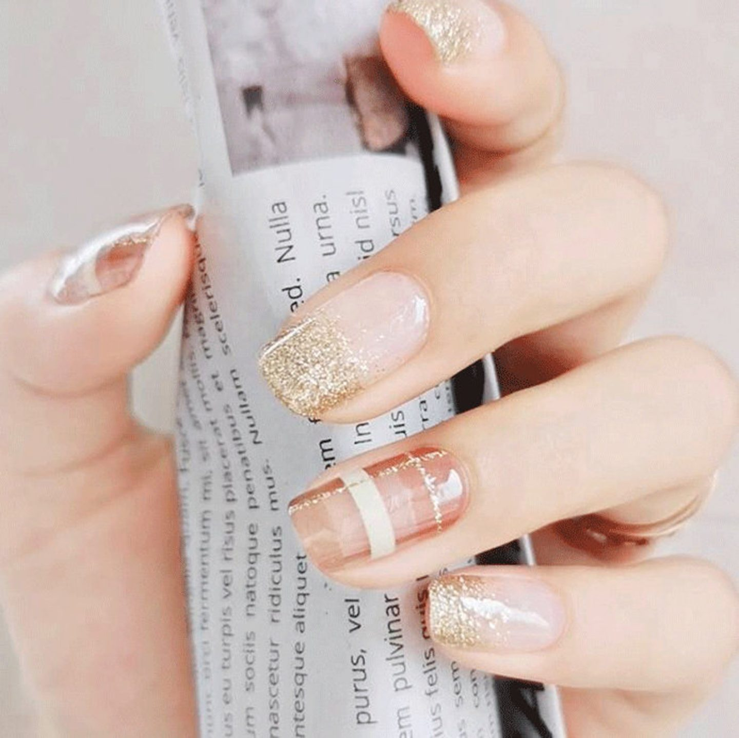 Cute short nude plaid nails with glitter tips