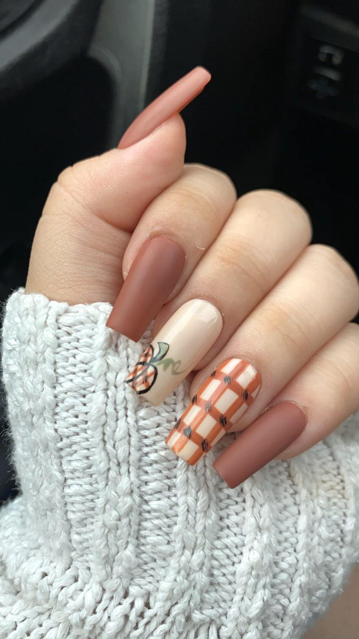 Matte brown pumpkin patch nails