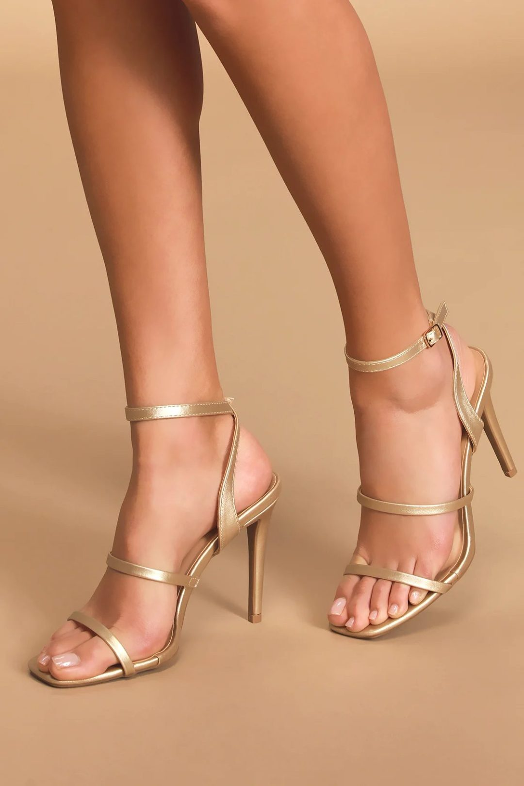 Cute gold heels to wear with red dresses