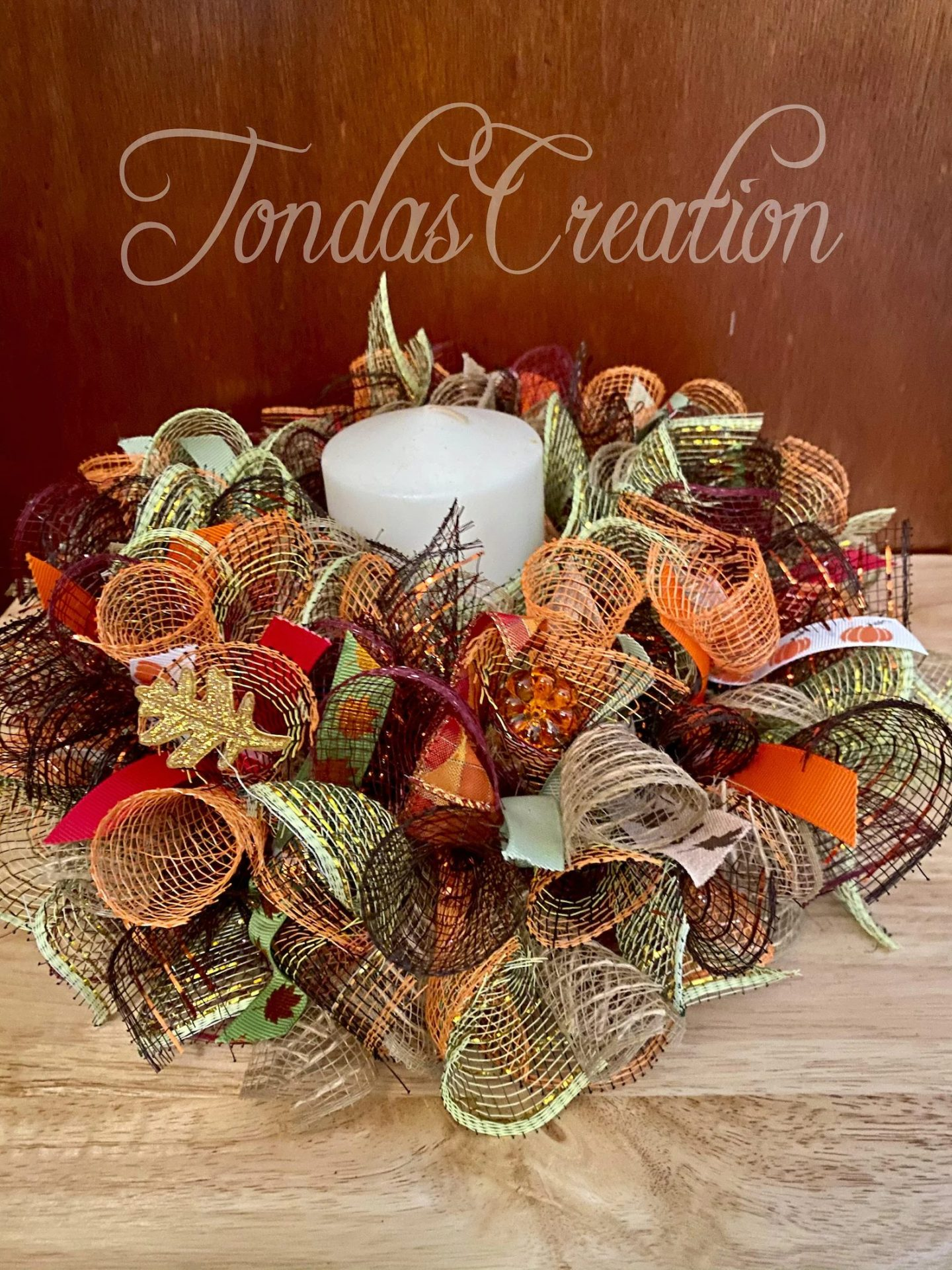 Mesh Thanksgiving Candle Wreath Centerpiece