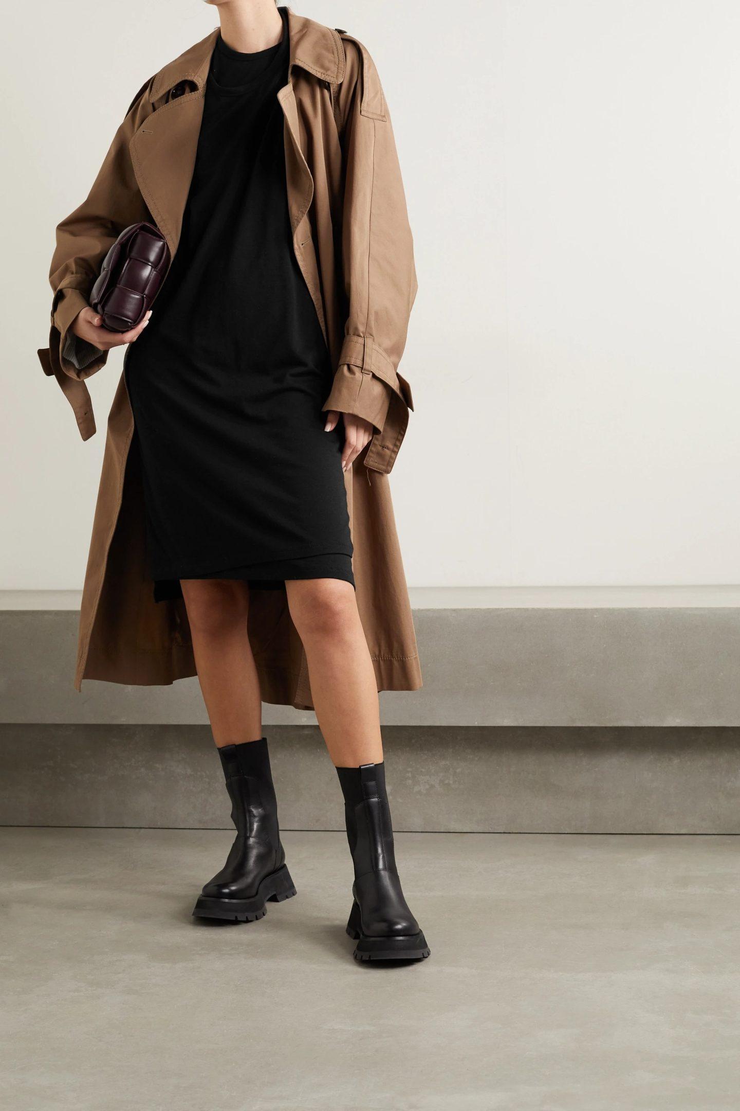 Black midi dress with trench coat